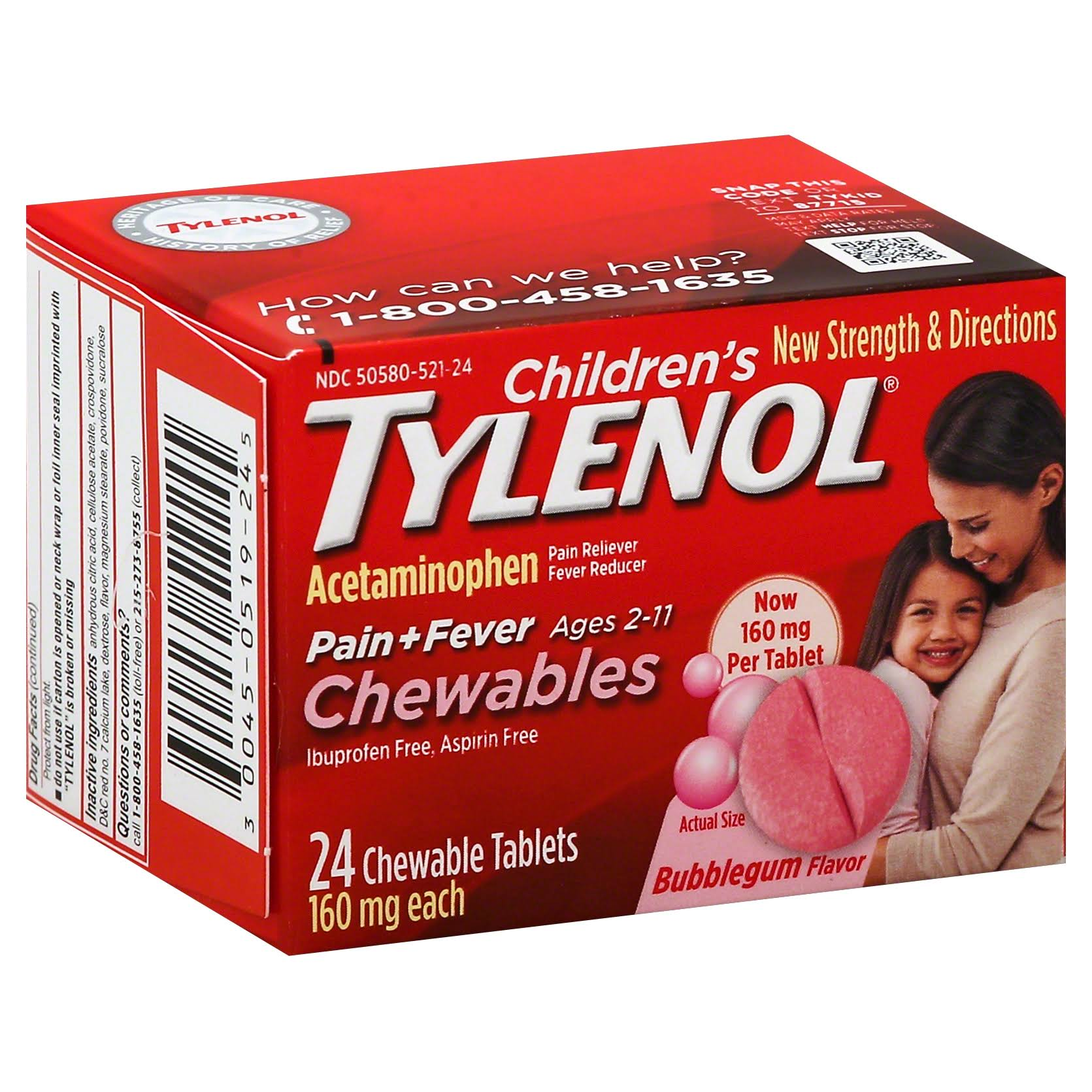 Tylenol Children's Pain Relief Chewables - Bubblegum