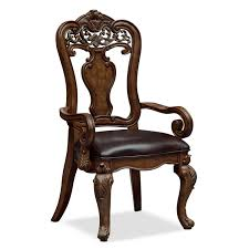 Classic Style Dark Brown Polished Oak Wood Dining Chair With Carved Accent Backrest And