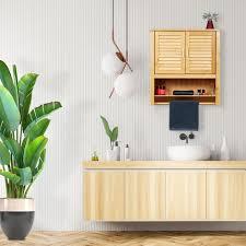 hängeschrank lamell bambus mit handtuchhalter 3 ablagen 2 türen badschrank hbt 66 x 62 x 20 cm natur