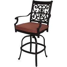 Darlee Patio Furniture Nassau by Exterior Wrought Iron Swivel Bar Stool With Square Cushion Pad