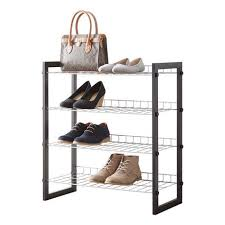 Mainstays 4 Tier Shoe Rack with Wood Frame and Wire Shelf