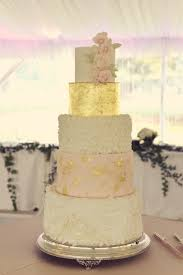 Five Tiered Rustic Elegant Wedding Cake With White Ruffles Rosette Blush Gold