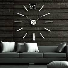 40 Inch Modern 3D Mirror Wall Clock DIY Room Home Decor Bell Cool Sticker