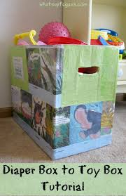 reuse diaper boxes to make cute toy bins
