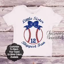Little Sister Biggest Fan Baseball Shirt, Glitter Top - Baby Toddler ...