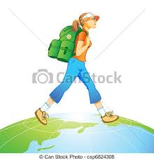 Travel World Traveling Tourist Girl With Backpack At The