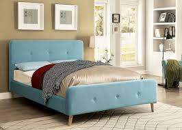 Size Barney Light Blue Button Tufted Platform Bed