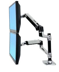 desk chief kgl220b desk mount height adjustable dual lcd monitor