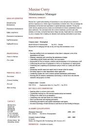 Maintenance Manager Resume Example Job Description Samples