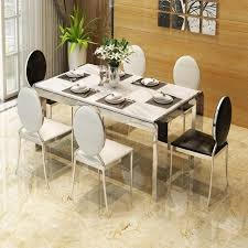 Rama Dymasty Stainless Steel Dining Room Set Home Furniture Modern Marble Table And Chairs