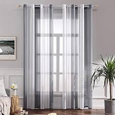 miulee voile vorhang nadelstreifen gardine aus voile mit ösen schlaufenschal ösenschals transparent fensterschal wohnzimmer schlafzimmer 2er set
