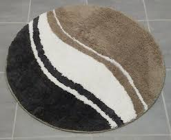 badematte taupe weiss anthrazit bad teppich rund 80 cm