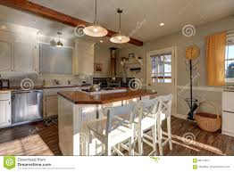100 Beams On Ceiling Newly Renovated Kitchen Boasts Wood Stock Image
