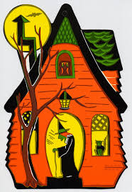 Vintage Halloween Collector Weeny Witch by Haunted House With Witch Vintage Beistle Halloween Decoration