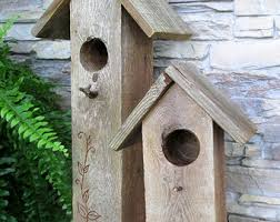 Reclaimed Wood Tall Birdhouses Weathered Rustic Wooden Country Folk Art Decorative Bird House