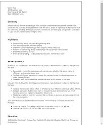 Resume Templates Facility Maintenance Manager