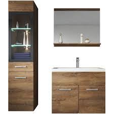 badezimmer badmöbel set led 60cm waschbecken lefkas braun unterschrank hochschrank waschtisch möbel