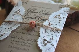 Rustic Burlap Lace Wedding Invitation Suite