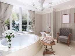 große runde badewanne im badezimmer im klassischen stil marmorstufen und boden niedriger tisch für bettwäsche und toilette mit bidet 3d übertragen