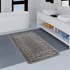 paco home moderner badezimmer teppich bordüre badvorleger rutschfest badematte in grau grösse 80x150 cm