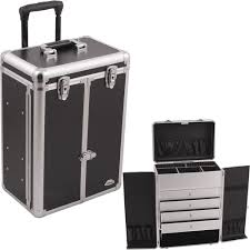 Plastic Drawers On Wheels by Sunrise C6008 Black Smooth 4 Drawers Rolling Cosmetic Makeup Case