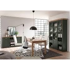 landhaus esszimmer set buffet anrichte esstisch cincinnati 61 in grün mit wotaneiche inkl led