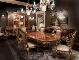 Odessa Inlaid Dining Room Solid Wood Table In Empire Style