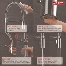 Delta Touch Faucet Battery Location by Delta Faucet 9659t Ar Dst Trinsic Arctic Stainless Pullout Spray