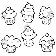 Easy to draw cupcake doodles