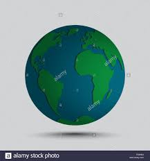 Simplified vector globe map icon with simple embossed continents
