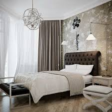 Fashionable Bedroom With Ceiling Lights And Chic Wall Lamp Idea