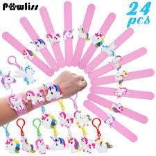 24 Pack Unicorn Slap Bracelets Wristband Backpack Clips Emoji