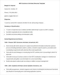 BPO Solutions Architect Resume Template Download