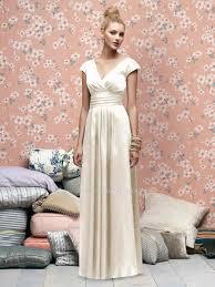 Cap Sleeve Bridesmaid Dresses Floor Length by Ivory Cap Sleeve V Neck Floor Length Glamour Satin Bridesmaid