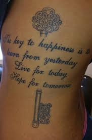 Key Tattoo Quote Girly Ribs Shaded Delicate Idea Happiness Hope Live