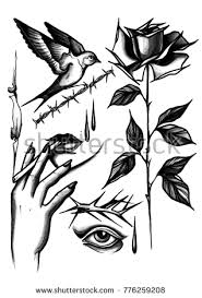 Watercolor Black And White Hand Draw Tattoo Sketches Rose Woman Holding A Cigarette