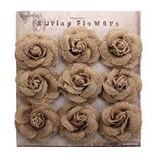 Burlap Roses Flowers Handmade Crafts RiscaWin Rustic Wedding Decorations9 Pcs