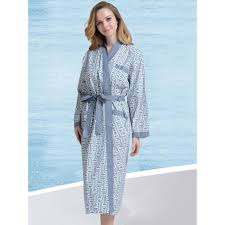 robe de chambre femme robe de chambre d eté coton col kimono bleue grise femme achat