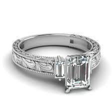 Milgrain Vintage 3 Emerald Cut Diamond Engagement Ring In White Gold