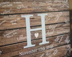 Rustic Wedding Guest Book Alternative Guestbook Custom Wood