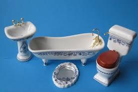 badezimmer blau porzellan ausstattung 4 teile puppenmöbel 1 12