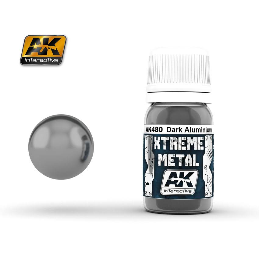 AK Interactive Xtreme Metal Dark Aluminum Metallic Paint 30ml Bottle
