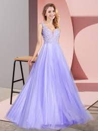 23212 10410 High Class Tulle V Neck Sleeveless Zipper Lace Prom Dress In Lavender