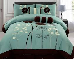 Black Leather Headboard With Crystals by Ocean Blue And Brown Flower Pattern Cotton Bedspread With