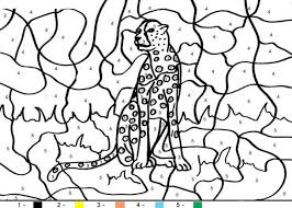 Kids Cheetah Animal Color By Number Coloring Pages