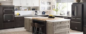 Matte Kitchen Appliances Black In With Light And Dark Cabinets Island