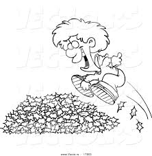 Vector of a Cartoon Little Boy Jumping in Leaves Outlined Coloring Page