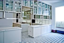 Glass Kitcen Cabinet With Display Stainless Steel Frame Floating Kitchen Doors And Rack Inside