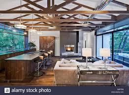 offener grundriss des modernen haus mit küche und wohnzimmer