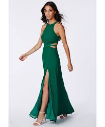 missguided anthea cut out split maxi dress emerald in green lyst